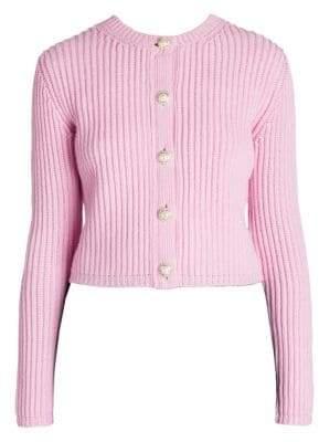 Miu Miu Women's Pearl Button Cashmere Cardigan - Rosa - Size 38 (4)