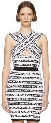 Balmain Black and White Wrap All-Over Logo Tank Top