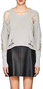 NSF Women's Shredded Cotton-Blend Scoopneck Sweater - Light Gray