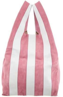 Hayward Striped Suede Shopper Bag Pink Striped Suede Shopper Bag