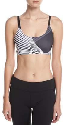 Onzie Graphic Elastic Sports Bra, Black/White