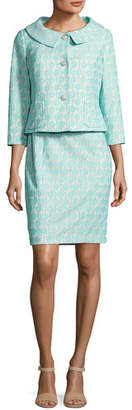 Albert Nipon Floral Jacquard Dress w/Jacket, Blue/White $395 thestylecure.com