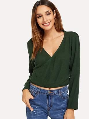 SheinShein Surplice Front V-Neck Sweater