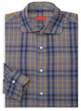 Isaia Spread Collar Plaid Dress Shirt