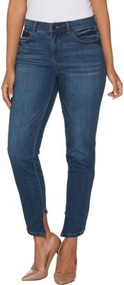 Lisa Rinna Collection Skinny Asymmetric Hem Jeans