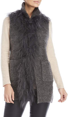 Dolce Cabo Grey Real Fur Trim Vest