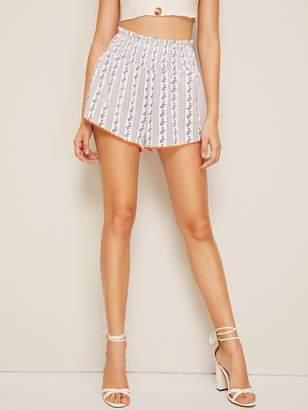 Shein Shirred Paperbag Waist Neon Orange Lace Trim Shorts