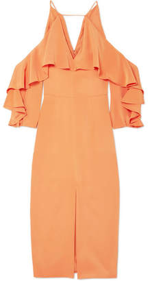 Cushnie et Ochs Cold-shoulder Ruffled Silk Midi Dress - Papaya
