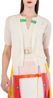 Akris Elbow-Sleeve Short Knit Cardigan