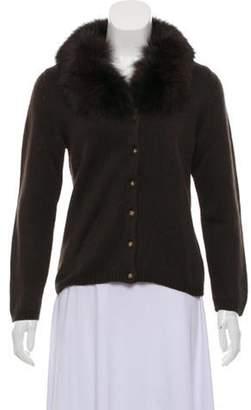 Blumarine Wool Fur-Trimmed Cardigan Brown Wool Fur-Trimmed Cardigan