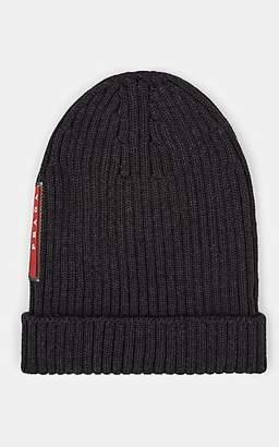 Prada Men's Rib-Knit Wool Beanie - Gray