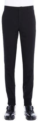 Lanvin Ankle-Zip Flat-Front Biker Pants, Black $998 thestylecure.com