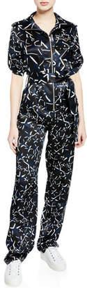 Carolina Ritzler Benjamin Long-Sleeve Printed Jumpsuit