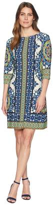 London Times Matte Jersey Printed 3/4 Sleeve Dress Women's Dress