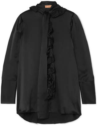 Maggie Marilyn - Second Nature Pussy-bow Ruffled Silk-satin Shirt - Black