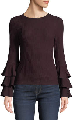 Lost + Wander Marie Ruffle-Tiered Long-Sleeve Ribbed Sweater