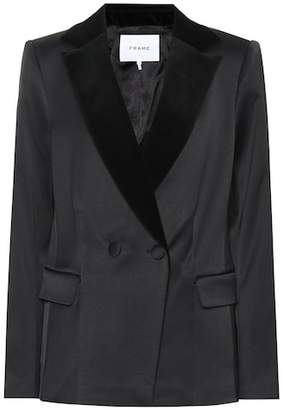Frame Velvet-collar satin blazer