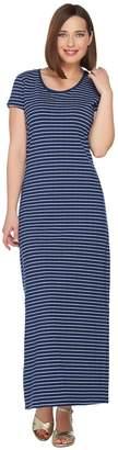 Isaac Mizrahi Live! Regular Striped Short Sleeve Knit Maxi Dress