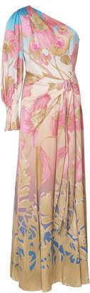 Peter Pilotto One-Shoulder Floral-Print Silk-Blend Maxi Dress