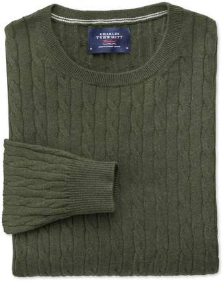 Charles Tyrwhitt Forest Green Cotton Cashmere Cable Crew Neck Cotton/Cashmere Sweater Size Large