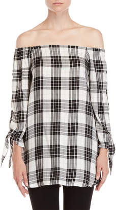 Alison Andrews Plaid Off-the-Shoulder Tie Sleeve Tunic