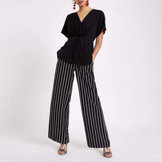 River Island Womens Black satin knot front shirt