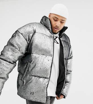 947e2fb3 Asos Design DESIGN Plus oversized sequin puffer jacket in silver