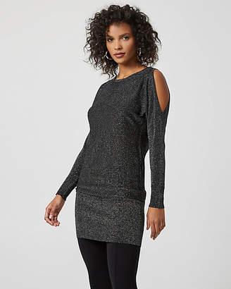 Le Château Metallic Knit Cold Shoulder Sweater Dress