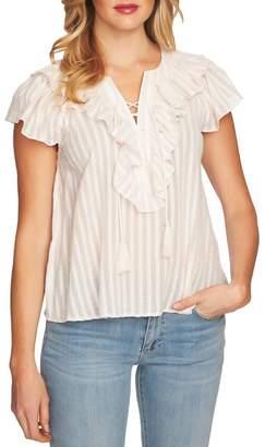 Cynthia Steffe CeCe by Lace Up Ruffle Stripe Cotton Blouse