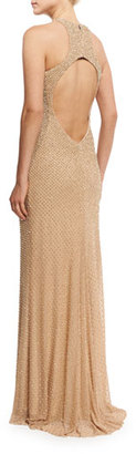 La Femme Sleeveless Studded Open-Back Column Gown, Nude $495 thestylecure.com