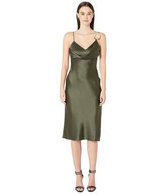 Cushnie Sleeveless Pencil Dress with Front Cowl and Dripping