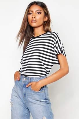 boohoo Stripe Batwing Cap Sleeve T-Shirt
