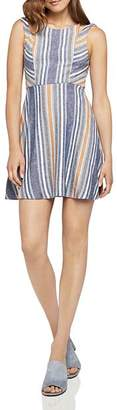 BCBGeneration Cutout Striped Fit-and-Flare Dress