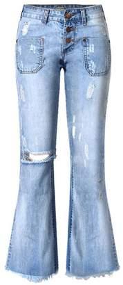 MEILIDONGREN Wide Leg Distressed Flared Jeans Women Vintage Cotton Bell Bottom Jeans L