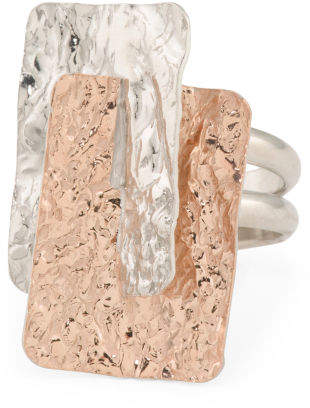Made In Italy Sterling Silver Two Tone Hammered Ring