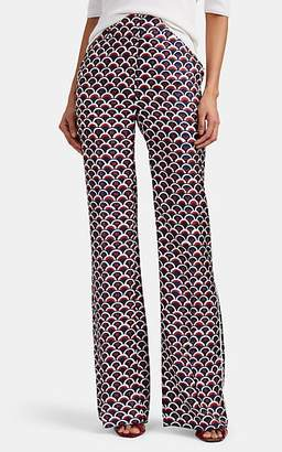 Valentino Women's Logo-Print Silk Wide-Leg Trousers - Blue