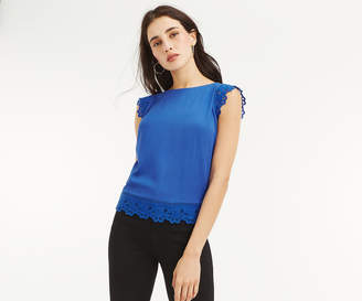 Oasis BRODERIE TRIM SHELL TOP