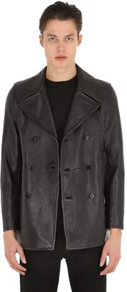 Saint Laurent Double Breasted Leather Peacoat