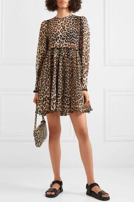 Ganni Plissé Leopard-print Georgette Mini Dress - Leopard print