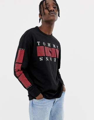 Tommy Jeans stripe usa logo chest & sleeve print long sleeve top in black