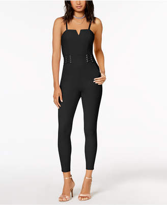 Material Girl Juniors' Lace-Up Fitted Jumpsuit, Created for Macy's