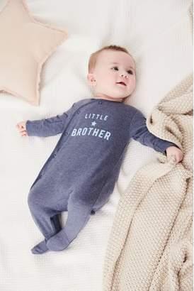 Next Boys Navy Brother Slogan Sleepsuit (0-18mths)