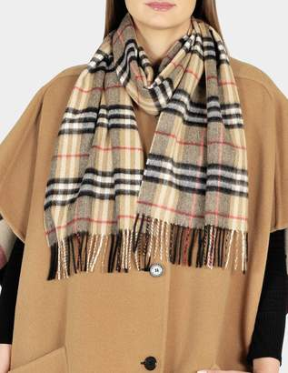 Burberry 168X30 Classic Check Cashmere Scarf in Camel Cashmere