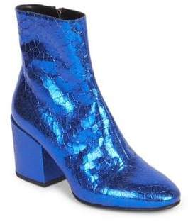 Dries Van Noten Metallic Leather Block-Heel Booties