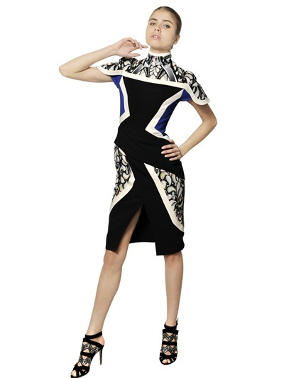 Peter Pilotto Double Printed Viscose Crepe Dress