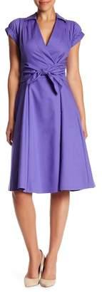 BGL Spread Collar Short Sleeve Wrap Dress