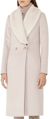REISS Franchesca Faux-Fur Shawl-Collar Coat $745 thestylecure.com