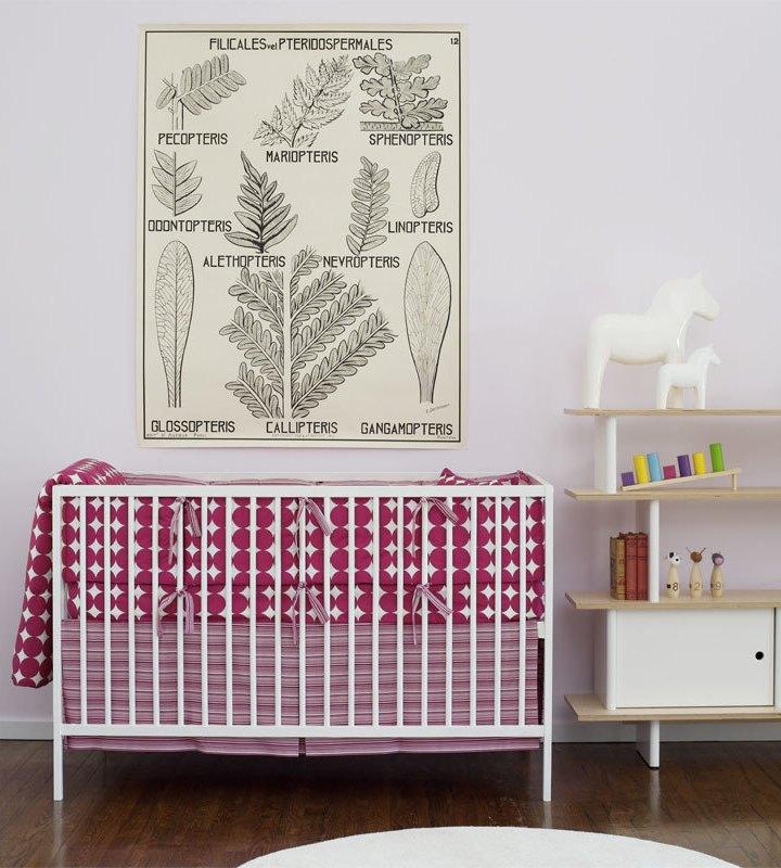 DwellStudio Baby Crib Bedding - Dots in fuschia