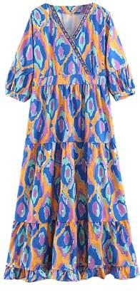 Goodnight Macaroon 'Janice' Aztec Print Boho Midi Dress (4 Colors)