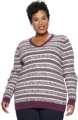 ce8d02995d at Kohl s · Croft   Barrow Plus Size Classic Cable Knit V-Neck Sweater